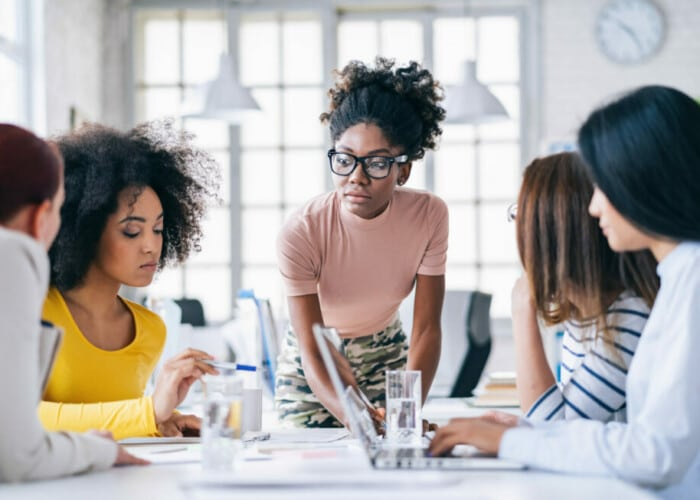 Multi-Ethnic women business team having discussion new projects